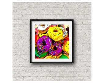 Donut Sprinkles Cake Fun Colorful Dessert Bakery Food Limited Editon Wall Art Giclee Square Print