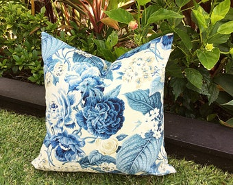 Hamptons Floral Outdoor Cushions, Outdoor Pillows, Cover Only Hamptonu0027s  Style Blue And White Cushions, Blue Outdoor Pillows, Garden Party