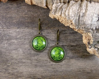 Green leaf earrings, Green earrings, Nature earrings, Glass leaf jewelry, Nature jewelry, Brass dangle earrings, Botanical jewelry NJ 023