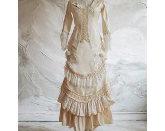 Victorian wedding silk dress, Historical dress, Jacket and bustle skirt, Petticoat, Vintage wedding dress, Bridal gown, Alternative wedding