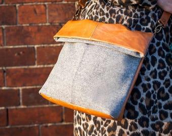 Leather & Fabric Foldover Cross Body Bag