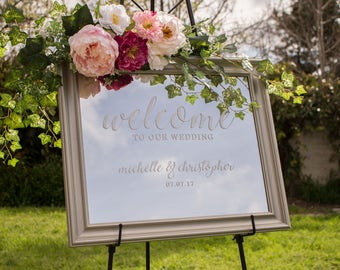 Wedding Welcome Mirror - Welcome Mirror Sign - Welcome Mirror Sign - Welcome Wedding Sign Mirror - Mirror Welcome Sign
