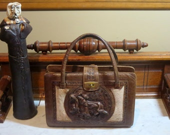 Dads Grads Sale Tooled Leather And Horsehair Multi-pocket Bag With Bullfighting Relief- VGC