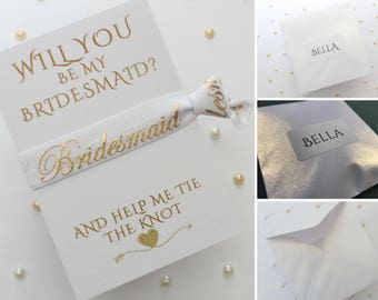 Personalised Bridesmaid Proposal - Bridesmaid Hair Tie - Personalized - Will you be my Bridesmaid - Gift for Bridesmaid - Friendship Band