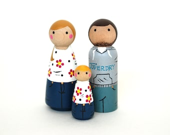 Custom HAPPY FAMILY of 3 (2 Adults and 1 child)