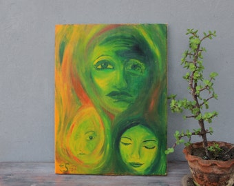 Feelings Portrait Original Oil Painting Faces and Emotions