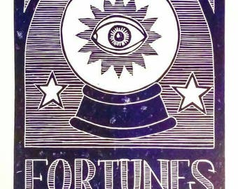 Fortune Teller Crystal Ball Lino Print Witchcraft Theme