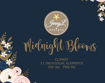 50% OFF Navy Blue Flower Clipart, Blush Wedding Flowers, Flower, Floral Arrangement for digital Scrapbooking, Wedding, Birthday Invit