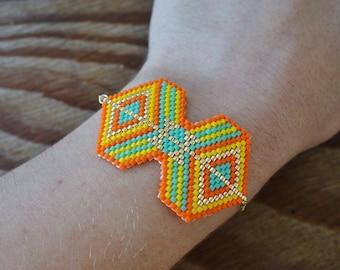 Bracelet Miyuki beads, orange - Aztec pattern