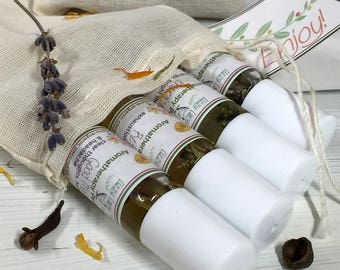 Aromatherapy Oils Complete Set   4 roll-on all natural perfume oils   organic essential oil perfume   Calm, Energize, Refresh, Good Morning