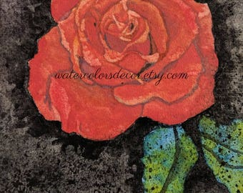 Single Red Rose Watercolor Print. Rose painting. Romantic decor. For her. Rose picture. Rose wall art. Rose artwork. Red black green.