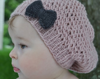 Blissful Bow Slouchy Hat PDF Knitting Pattern for baby, child and adult