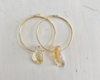 Raw Citrine Hoops Earrings - Raw Stone Earrings - Citrine Earrings - Raw Gemstone Earrings - November Birthstone