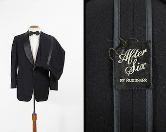 Vintage Shawl Lapel Tuxedo Black Single Breasted Wool Tux - Size 42 Long
