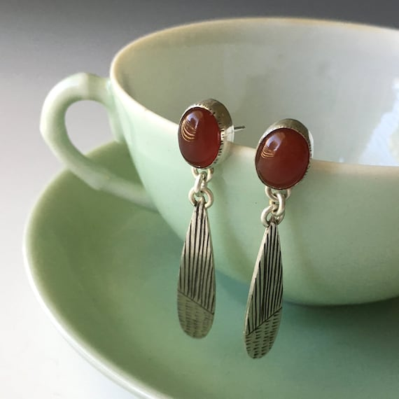 Carnelian Earrings, Post Dangle Earring, Red Stone Jewelry
