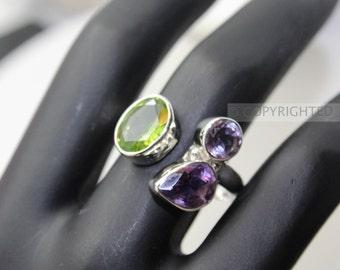 Peridot, Amethyst Ring, 925 Sterling Silver Ring, Gemstone Rings, Crystal Rings, Healing Rings