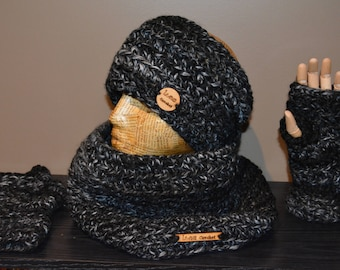 Large cowl, ear warmer and fingerless mittens set.  Cozy and warm cowl, ear warmer and mittens set.