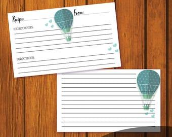 4x6 Wedding Recipe Card / Recipe Card / Bridal Shower Recipe Card / Hot Air Balloon Recipe Card / Instant Download