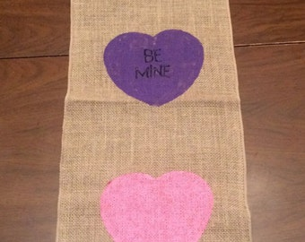 Valentines Day Table Runner - Valentine's Day Burlap Table Runner - Conversation Hearts Table Runner - Burlap Table Runner - Valentine's Day
