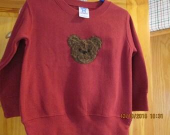 Cute furry bear sweatshirt- size T 2- Personalized