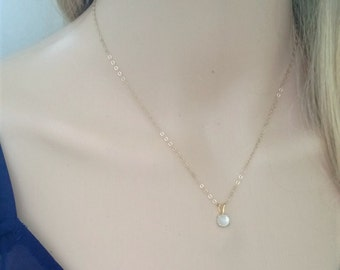Tiny moonstone necklace 14Kt gold filled; gold moonstone necklace; June birthstone; moonstone pendant necklace; round moonstone necklace