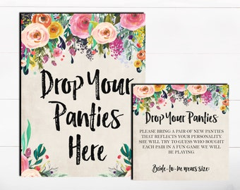 Drop Your Panties Here The Panty Game Lingerie Bachelorette Game Floral Shabby Pink Panty Guess Game Lingerie Guess Game Printable Game