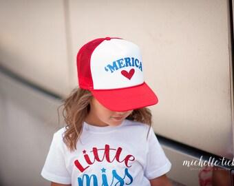 Merica hat, Kids trucker hat, Adult trucker hat, 4th of July hat, 4th of July apparel, Merica apparel, Toddler hat, beach hat, Vacation hat
