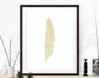 Gold Feather Art Print, Feather Graphic Art, Printable Art, Feather Print, Feather Art, Gold Graphic Art Print, Wall Prints, Home Decor