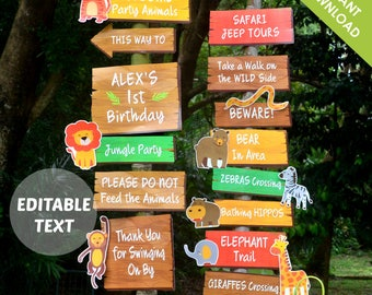 Safari Party Sign Birthday Decoration | Jungle Party Welcome Signage | Text EDITABLE Yourself | Digital Printable PDF INSTANT Download