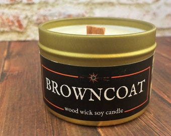 BROWNCOAT Candle | Cracklin' Wood Wick, 100% Soy | Gold Tin | 4 & 8 oz | SciFi- Fantasy- RPG- Geek - Firefly Gift | Finest in the 'Verse