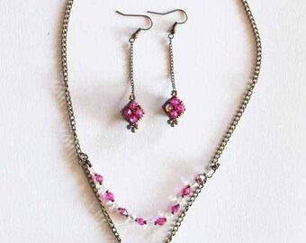 "Set ""Double-face love"" bronze with glass pearls and bicônes fushia and crystal"