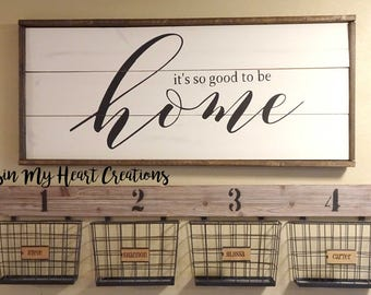It's so good to be home Framed Wood Sign | Farmhouse style, Home Decor, Entry Sign, Shiplap, Pallet Sign