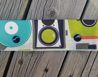 DPN Cozy - Camera with Black Snaps and Teal Dots