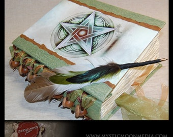 Book of Shadows / Spellbook/ Handfasting Guest Book / Wiccan / Wicca / Pagan / Pentacle / Pentagram / Spell book / ACORN Beads / Quill Pen