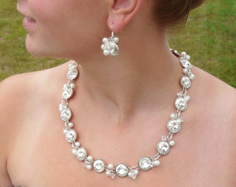 Bridal Necklace Crystal Wedding Necklace Bridal Jewelry Bridesmaid Necklace Bridal Statement Necklace Crystal Bridal Necklace Long Necklace
