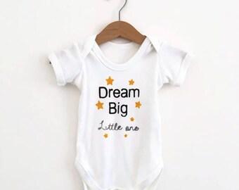 Dream Big Little One Bodysuit in Mustard Yellow - Star Baby Clothes - Star Onesie - Organic Baby Clothes - Dream Big Baby - Organic Bodysuit