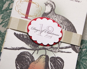 12 Days of Christmas Mantel Card set of three holiday home decor victorian vintage style etching hostess gift