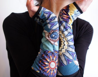 Blue yellow Orange Kaleidoscope patterned mitten cuff. , cotton Jersey