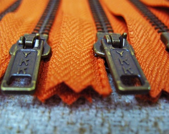 4inch - Burnt Orange Metal Zipper - Brass Teeth - 6pcs