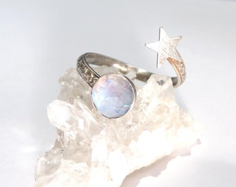 Moon and Star Ring, Open Ring, Moonstone Ring, Star ring, Silver star ring, Rainbow Moonstone ring, Full moon ring, moon star ring