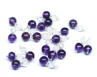 20 Quartz Amethyst 925 Sterling Silver Wire Wrap Connector Earring Finding 12mm long - Jewelry Making