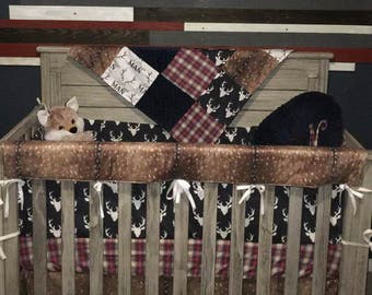 Baby Boy Crib Bedding - Little Man Antlers, Deer Skin, Navy Buck, Red Navy Plaid, Navy Minky Crib Baby Bedding Ensemble