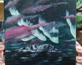 Northern Lights | Original Acrylic Painting | 15X15 cm