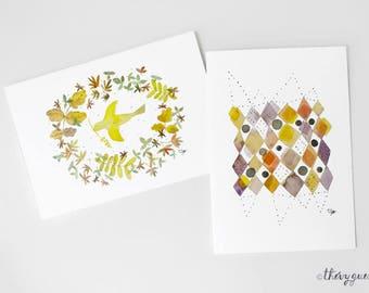 Geometric bird watercolor card, Greetings card, Bird stationery, Cute stationery, Geometric stationery, Congratulations, Abstract bird art