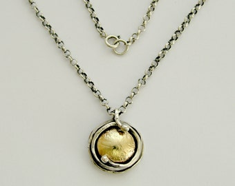Two-tone necklace, hammered gold pendant, silver gold pendant, yellow gold pendant, oxidized silver necklace - Walking in circles N8980G