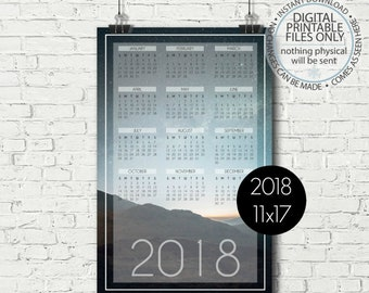 Printable Calendar 2018, Yearly Calendar Page, Yearly Wall Calendar, Night Sky Wall Calendar, Calendar Poster, 11x17, Calendar Page