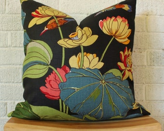 Floral Nympheus Pillow Cover, Teal Green Bird Lotus Leaf Pillow