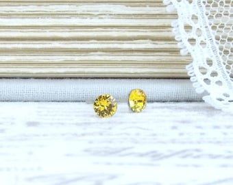 Small Yellow Earrings 4mm Studs Yellow Stud Earrings Dainty Earrings Solitaire Studs Surgical Steel