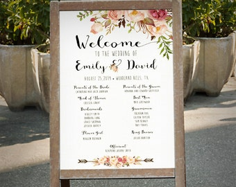 Wedding program sign printable, Boho floral wedding program sign printable, Watercolor Ceremony Program digital file - PF-18