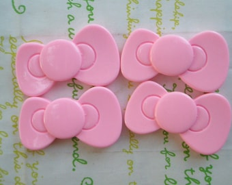 BIG Kitty bow cabochons 4pcs  Pink 40mm x 23mm